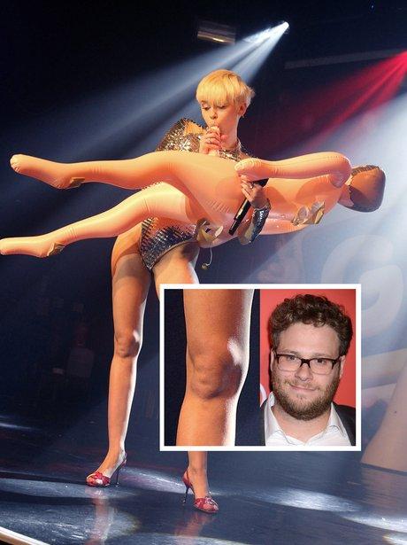 Miley Cyrus knee looks like Seth Rogen
