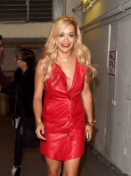 Rita Ora wear a red leather dress