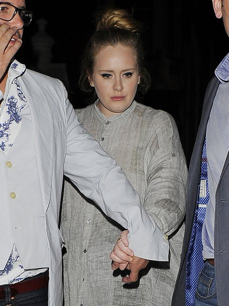 Adele leaves Chilton Firehouse on night out with friends