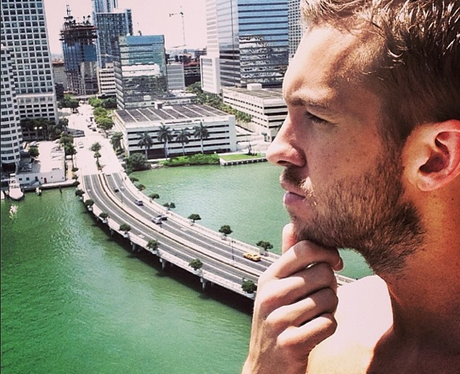 Calvin Harris posts a selfie on holiday in Miami