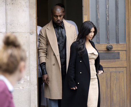 Kim and Kanye wearing matching outfits