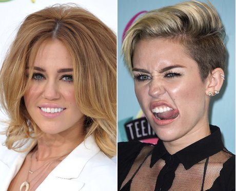 Miley Cyrus' camera poses then and now