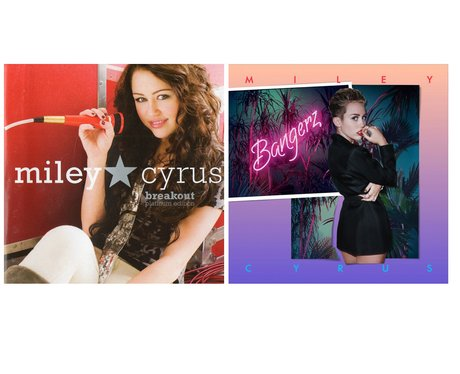Miley Cyrus' album covers then and now