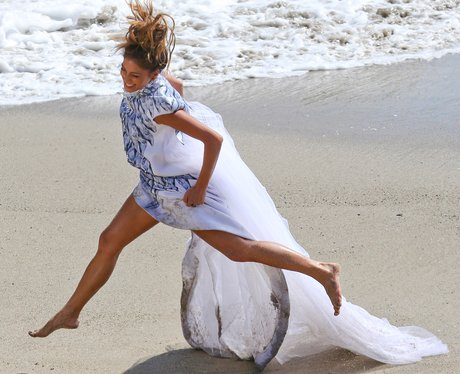 Nicole Scherzinger filming video on the beach