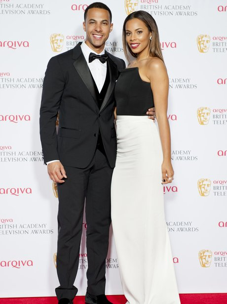 Rochelle and Marvin Humes pose at the BAFTAs 2014