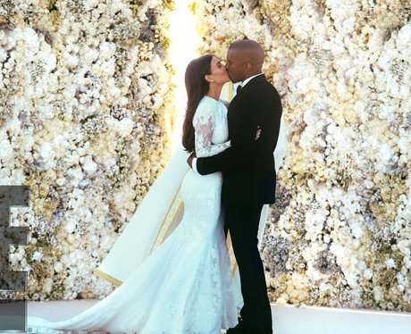 Kanye West kissing Kim Kardashian