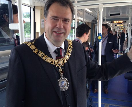 Edinburgh Lord Provost Donald Wilson on a tram