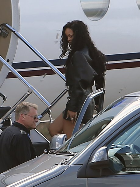 Rhinanna getting on a  private jet
