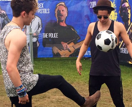 The Vamps playing football backstage at IOW