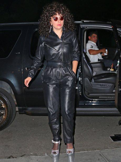 Lady Gaga in a full leatehr bodysuit