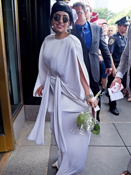 Lady Gaga wearing a white dress in New York