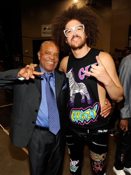 Berry Gordy and Father Redfoo of LMFAO