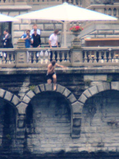 Harry Styles jumping from balcony