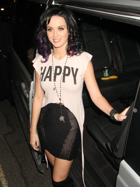Katy Perry wearing a slogan t shirt
