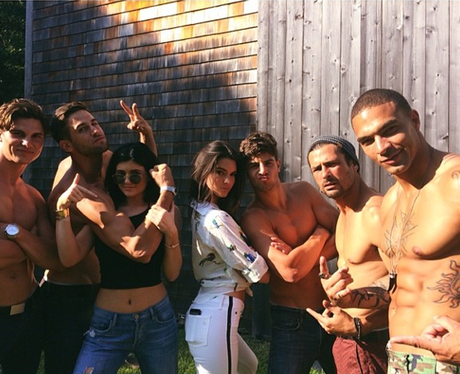 Kylie and Kendall Jenner with topless models