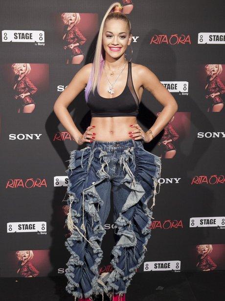 Rita Ora shows off her abs