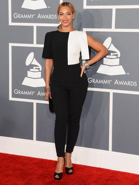 Beyonce wearing monochrome at Grammys.