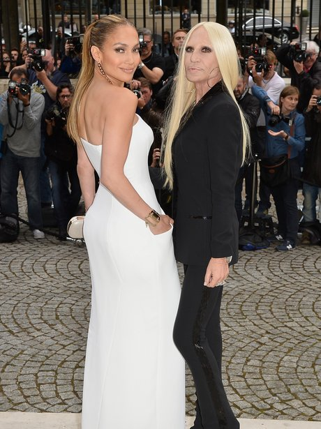 Jennifer Lopez and Donatella Versace at Paris Fash