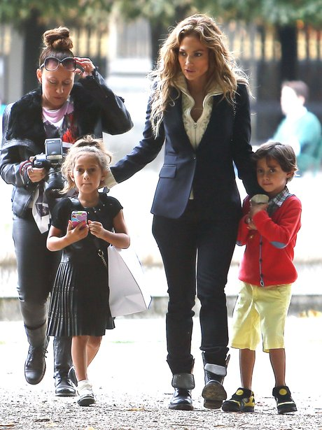 Jennifer Lopez  in Paris with her twins.
