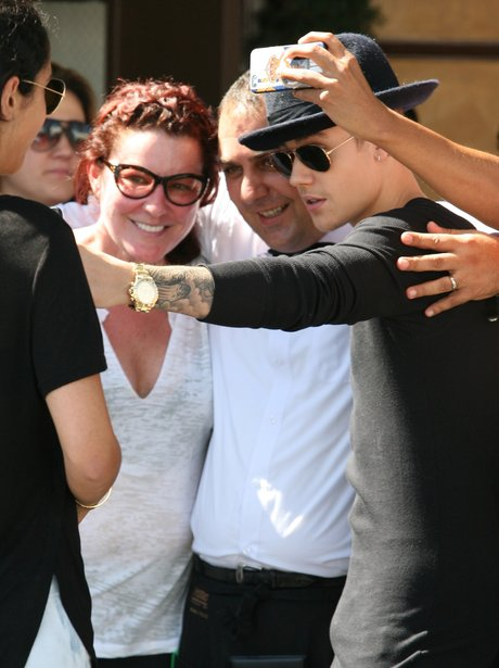Justin Bieber meeting fans in LA.