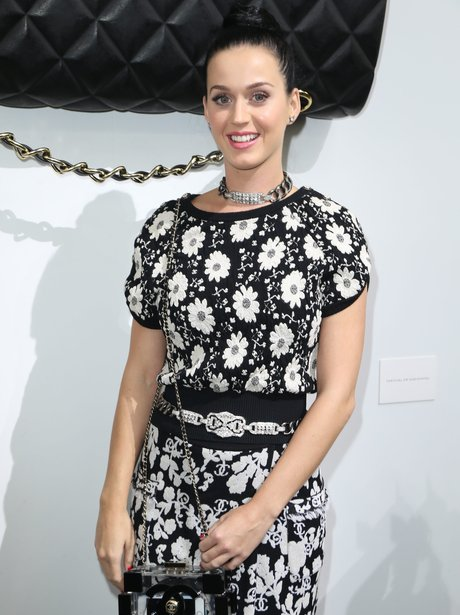 Katy Perry wears monochrome at Chanel show.