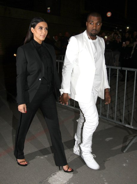 Kim Kardashian and Kanye West in monochrome