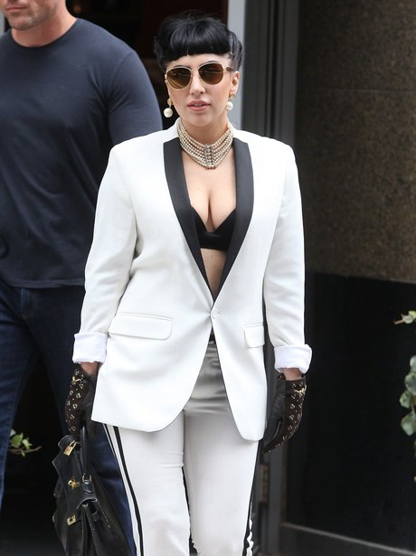 Lady Gaga in a white suit
