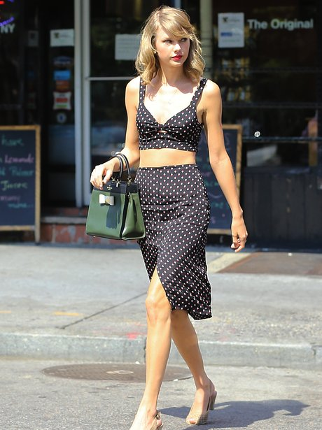 Taylor Swift in New York wearing a polka dots