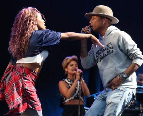 Pharrell Williams performs at T in the Park