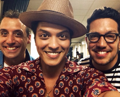 Bruno Mars backstage selfie on Instagram