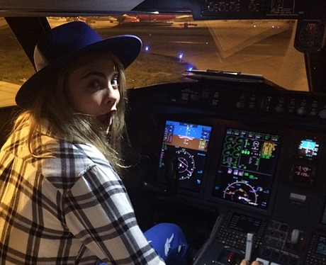 Cara Delevingne riding a helicopter Instagram