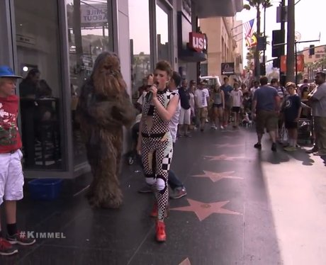 Kiesza performs on JImmy Kimmel with Chewbacca
