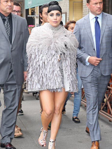 Lady Gaga wearing a fur coat