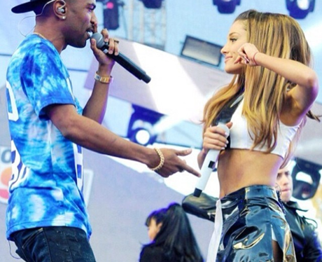 Big Sean on stage with Ariana Grande