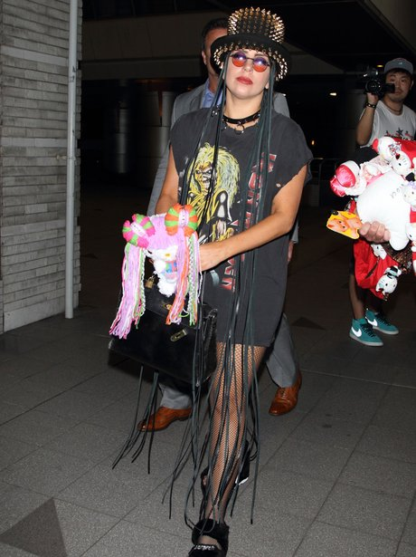 Lady Gaga wearing a studded hat