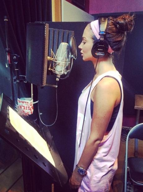 Tulisa in the studio