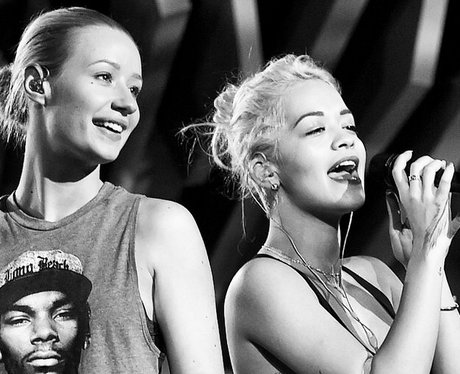 Iggy Azalea and Rita Ora during rehearsals for VMA