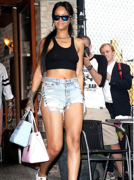 Rihanna wearing denim hotpants