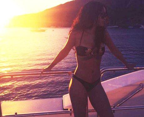 Rihanna wearing a bikini on a boat