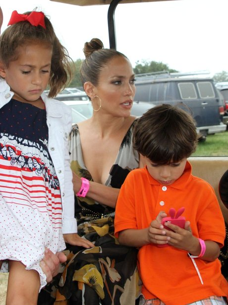 Jennifer Lopez with children at a horse show