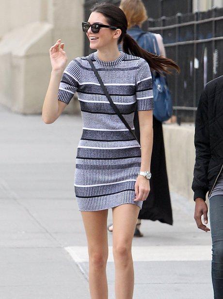 Kendall jenner wearing a stripey dress