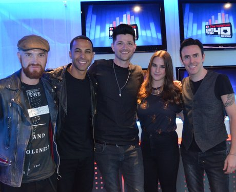Marvin and Kat with The Script in the studio