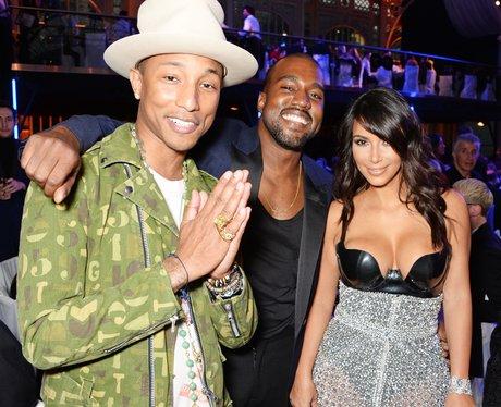 Pharrell Williams, Kanye West and Kim Kardashian a