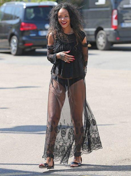 Rihanna wearing a see through skirt