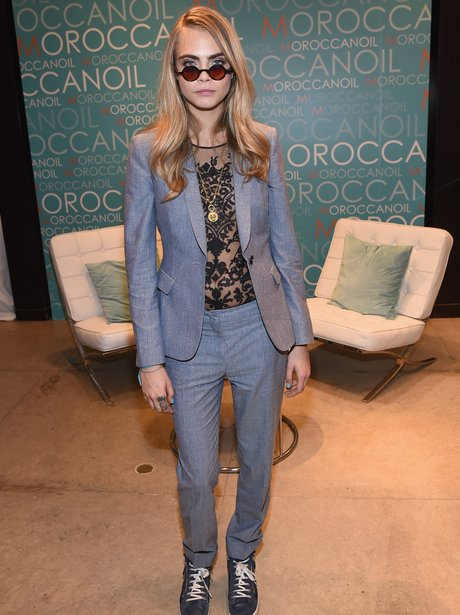 Cara Delevingne wearing a suit