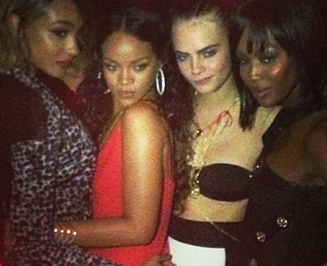 Cara Delevingne, Jordan Dunn, Rihanna and Naomi Ca