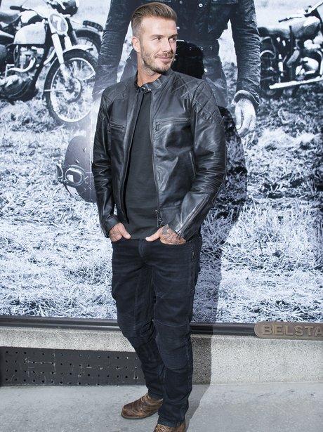 David Beckham in a black leather jacket