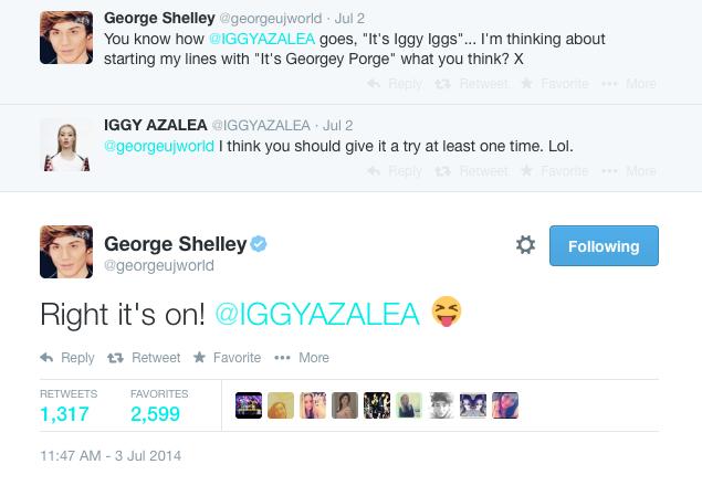 Iggy Azalea George Shelley Tweet