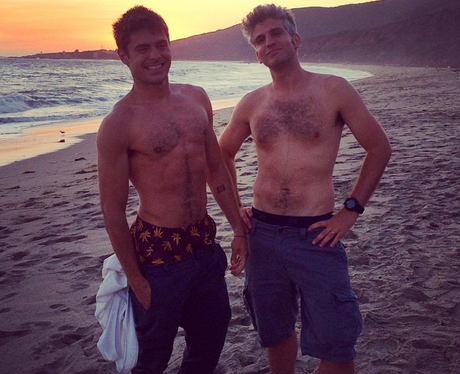 Zac Efron topless after filming