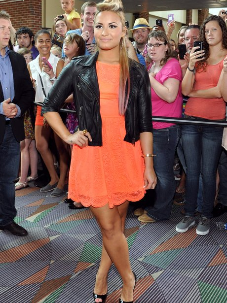 Demi Lovato Orange Dress
